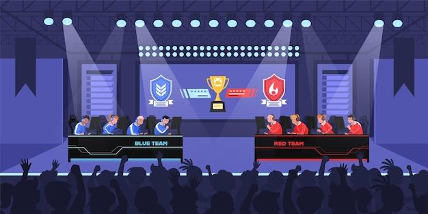 Duas equipes de competição de atletas de e-sports na competição esports
