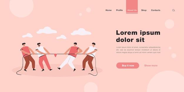 Duas equipes de escritório de pessoas puxando a corda página inicial em estilo simples.