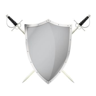 Duas espadas cruzadas atrás da ilustração do escudo de aço em branco
