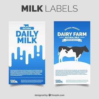 Duas etiquetas de leite