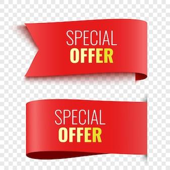Duas etiquetas de oferta especial etiquetas vermelhas banners de venda ilustração vetorial