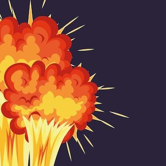 Duas explosões com nuvens de fogo de cor laranja sobre um fundo azul.