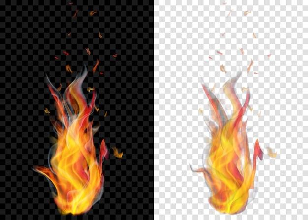 Duas fogueiras a arder translúcidas com fumaça em fundo transparente. para uso em cenários claros e escuros. transparência apenas em formato vetorial