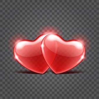 Duas formas de corações brilhantes vermelhas isoladas