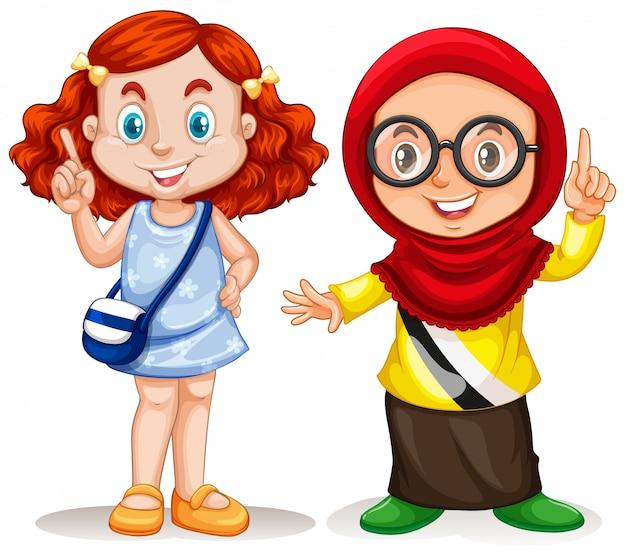 Duas garotas apontando o dedo para cima