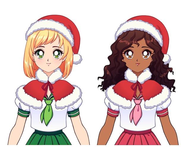 Duas garotas de anime étnicas diferentes usando uniforme escolar japonês e chapéu de natal