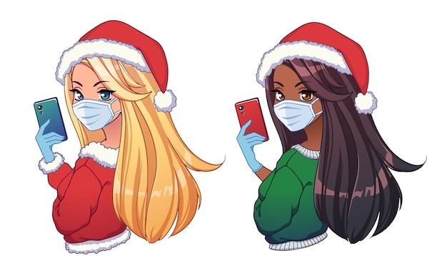 Duas garotas de desenhos animados étnicos diferentes tirando selfie e usando chapéu de natal e máscara médica