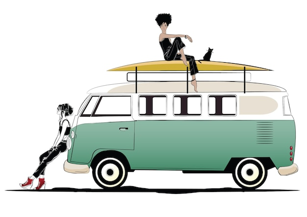Duas garotas elegantes e ônibus verde.