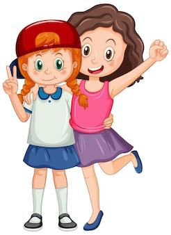 Duas garotas fofas se abraçando