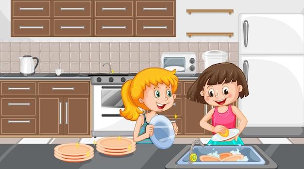 Duas garotas lavando pratos na cena da cozinha