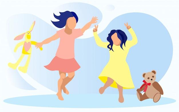 Duas garotas pulando, se divertindo e brincando