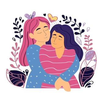 Duas garotas se abraçam e sorriem personagens isolados no fundo branco ilustração vetorial em estilo simples