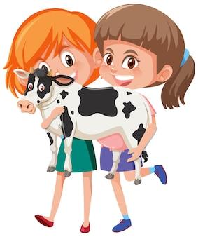 Duas garotas segurando um personagem de desenho animado fofo isolado no fundo branco