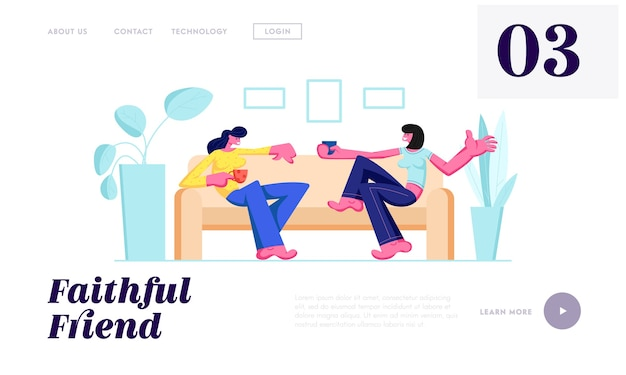 Duas garotas sentadas no sofá, bebendo bebidas e se comunicando em casa.