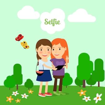 Duas garotas tomando selfie