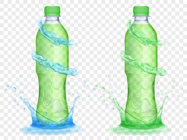 Duas garrafas de plástico translúcidas cheias de suco verde