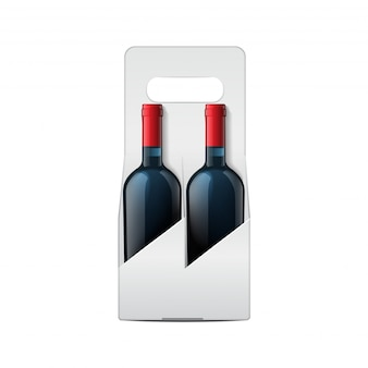 Duas garrafas de vinho mock-up e modelo de garrafa de videira de pacote dobrável.