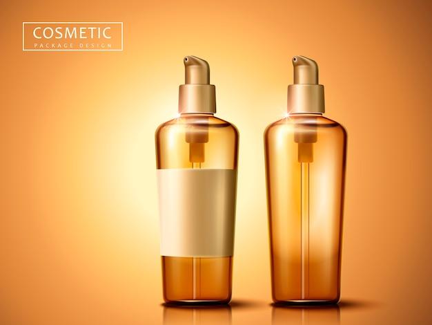 Duas garrafas plásticas de cosméticos em branco, fundo dourado isolado