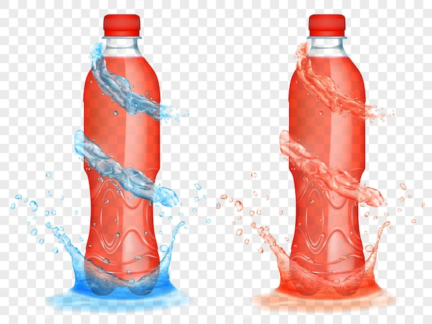 Duas garrafas plásticas translúcidas cheias de suco vermelho, com coroas e respingos de água azul claro, isoladas em fundo transparente. transparência apenas em formato vetorial