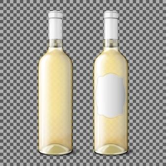 Duas garrafas transparentes realistas para vinho branco isoladas em fundo xadrez