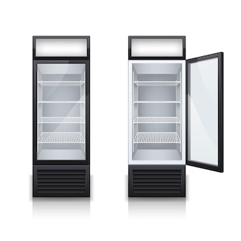 Duas geladeiras de bar comercial com uma vitrine aberta e fechada, conjunto realista