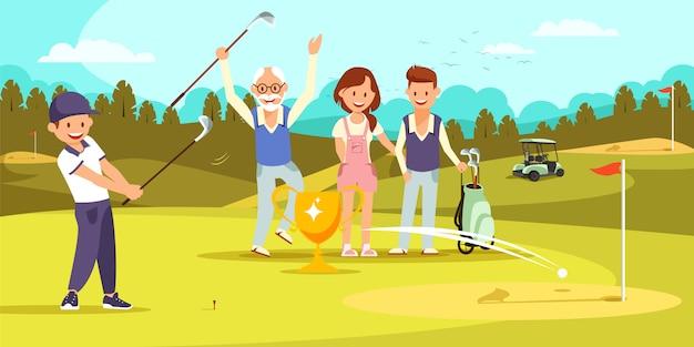 Duas gerações de família jogando golfe juntos.