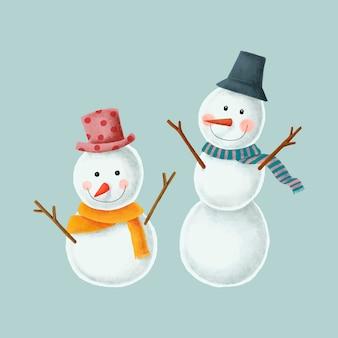 Duas ilustrações de boneco de neve de natal fofo