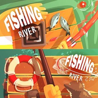 Duas ilustrações de pesca com apenas as mãos visíveis