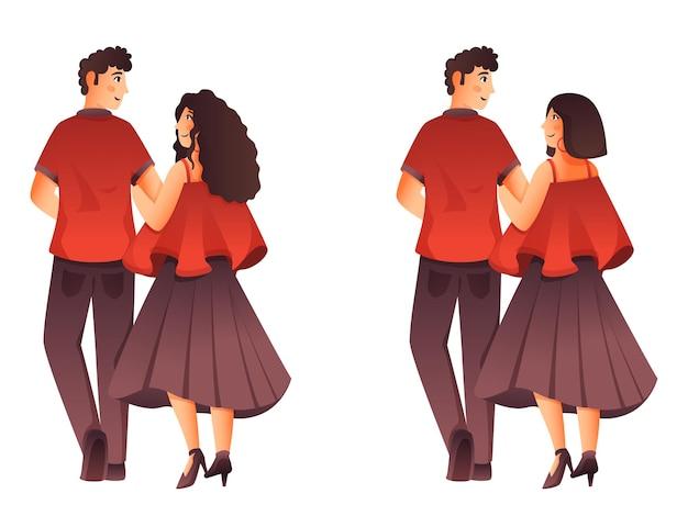 Duas imagens de personagem de casal jovem em pé pose.