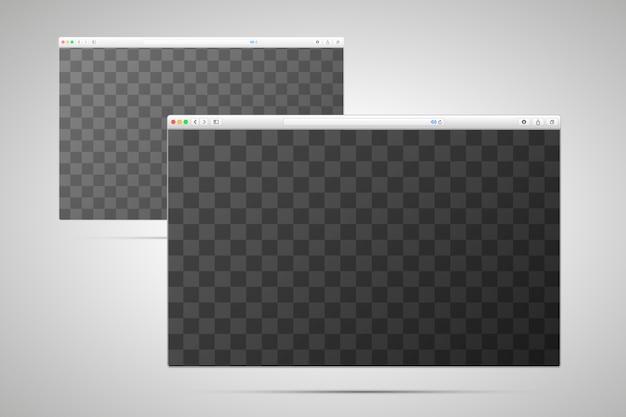 Duas janelas do navegador com lugar transparente para a tela