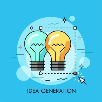 Duas lâmpadas selecionadas com ferramenta de seleção retangular e cursor.