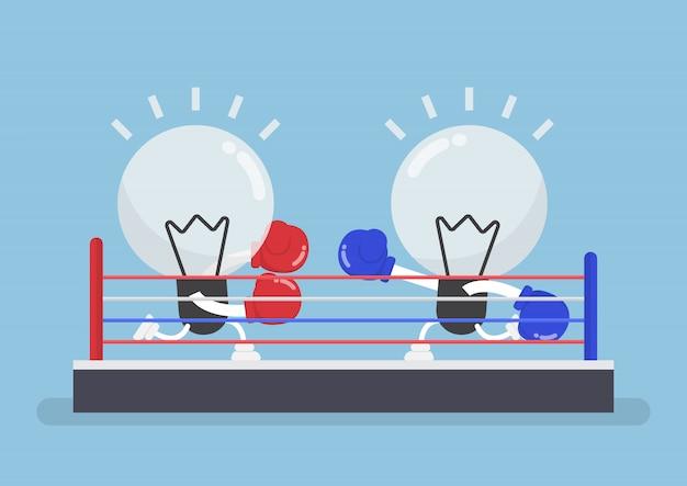 Duas lâmpadas usando luvas de boxe, lutando no ringue de boxe