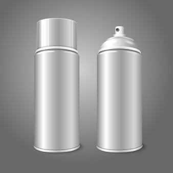 Duas latas de garrafa 3d de metal em spray aerossol em branco