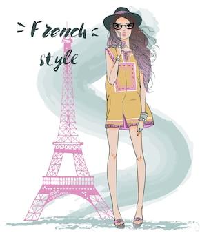 Duas lindas garotas esboçadas de verão em paris