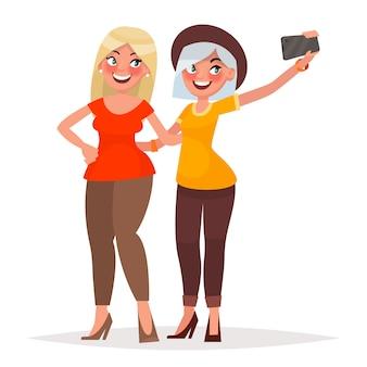 Duas lindas meninas fazendo selfie. ilustração vetorial no estilo cartoon