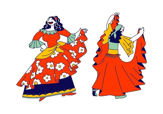 Duas lindas mulheres ciganas vestidas com vestidos coloridos, ilustração plana dos desenhos animados