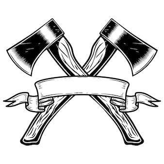 Duas machadinhas cruzadas com fita. elemento de design de logotipo, etiqueta, sinal, cartaz, cartão, banner. ilustração vetorial
