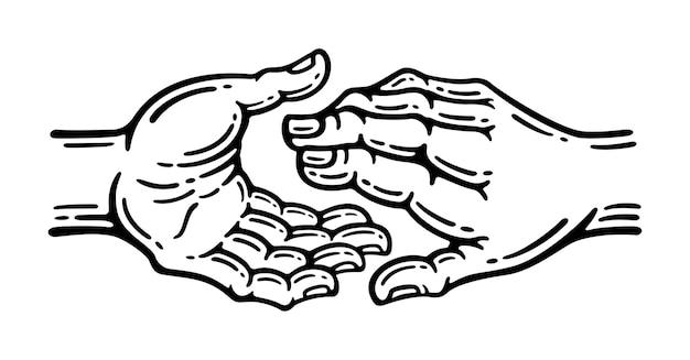 Duas mãos com gestos úteis. conceito de mão amiga e dia internacional da paz, ilustração de suporte