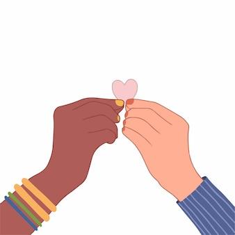 Duas mãos de cores de pele diferentes, segurando um coração rosa, ilustração vetorial plana colorida desenhada à mão