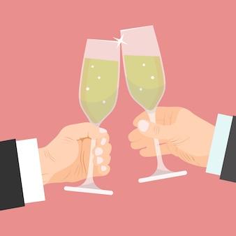 Duas mãos de empresários com copos de champanhe estão brindando.