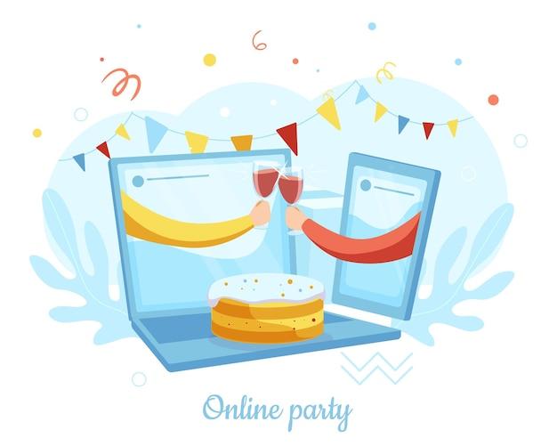 Duas mãos de laptop, tilintar de óculos de smartphone, ilustração vetorial. festa online, encontro de amigos. bate-papo por videochamada.