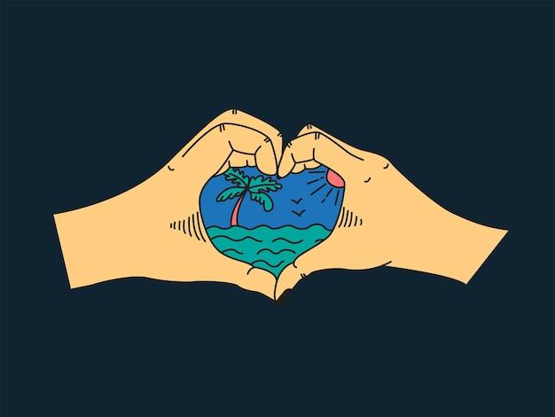 Duas mãos em forma de coração, o mar, uma palmeira e o sol. ilustração em vetor plana em estilo retro.