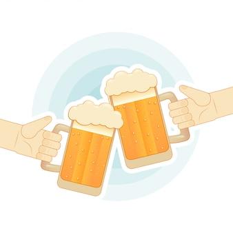 Duas mãos humanas que brindam com canecas de cerveja. ilustração plana para bar
