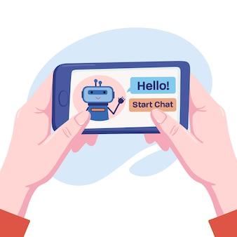 Duas mãos humanas segurando o telefone, smartphone na posição horizontal com o robô bonitinho chatbot oferecendo para iniciar um bate-papo