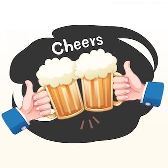 Duas mãos segurando dois copos de cerveja, um brinde