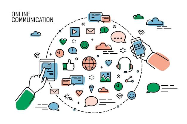 Duas mãos segurando smartphones e símbolos de mídias sociais, redes de internet, bate-papo e mensagens instantâneas dispostas em forma redonda. comunicação online. ilustração vetorial no estilo de linha de arte.