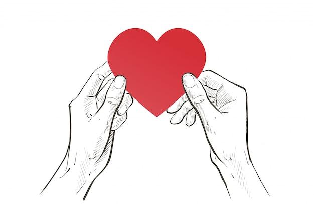 Duas mãos segurando um coração vermelho juntos. cuidados de saúde, ajuda, caridade, doam amor e conceito de família. esboço linha ilustração