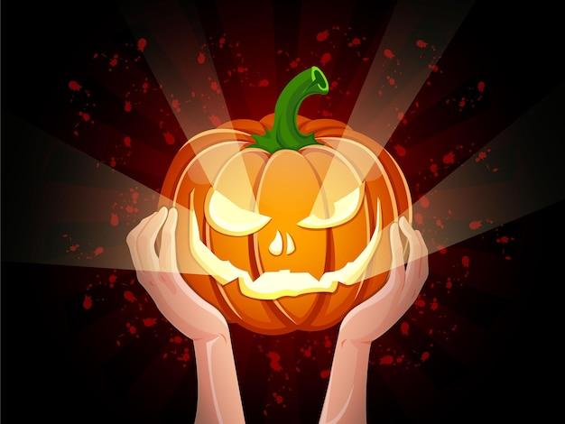 Duas mãos segurando um vetor de abóbora de halloween