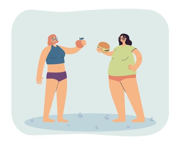Duas meninas com formas corporais e dietas diferentes