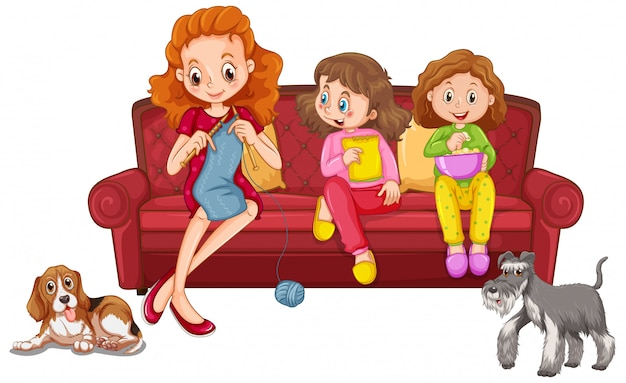 Duas meninas comendo lanche e mãe tricotando no sofá